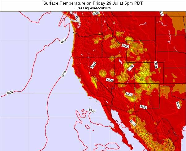 California Surface Temperature on Friday 14 Mar at 10pm PST
