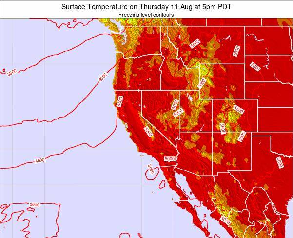 California Surface Temperature on Wednesday 25 Oct at 11am PDT