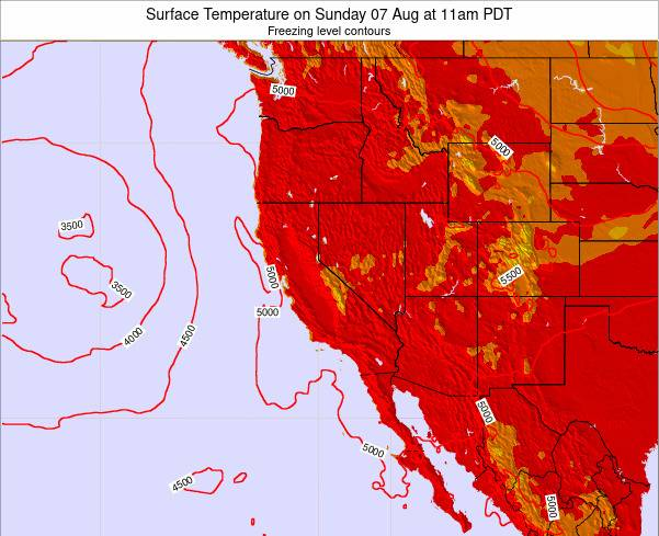 California Surface Temperature on Monday 08 Sep at 5pm PDT