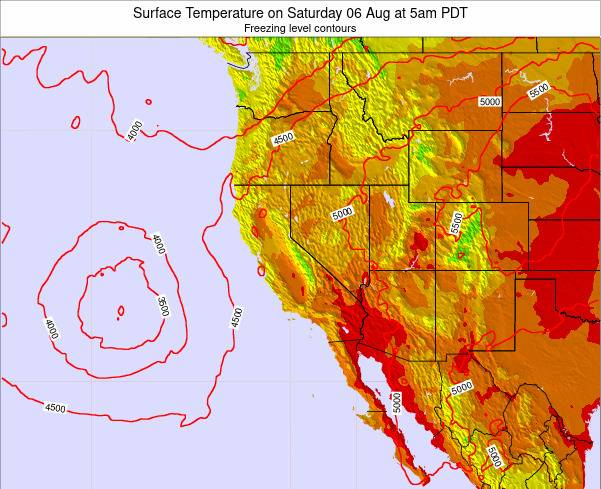 California Surface Temperature on Tuesday 26 Aug at 5pm PDT