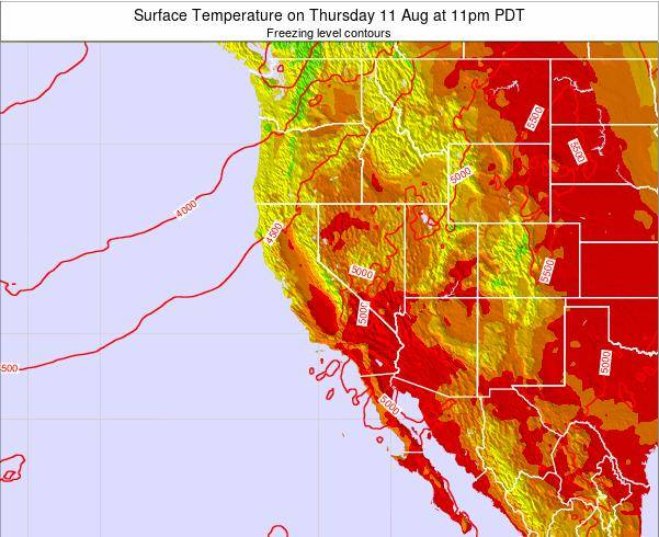 California Surface Temperature on Monday 04 Aug at 5am PDT