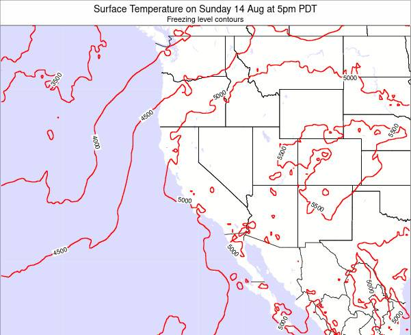 California Surface Temperature on Thursday 06 Nov at 5pm PDT