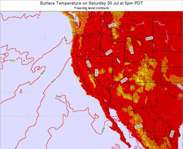 California Surface Temperature on Tuesday 18 Mar at 5am PDT