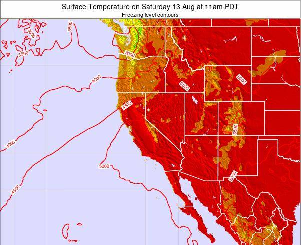 California Surface Temperature on Monday 28 Jul at 5pm PDT
