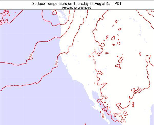 California Surface Temperature on Friday 24 May at 5am PDT