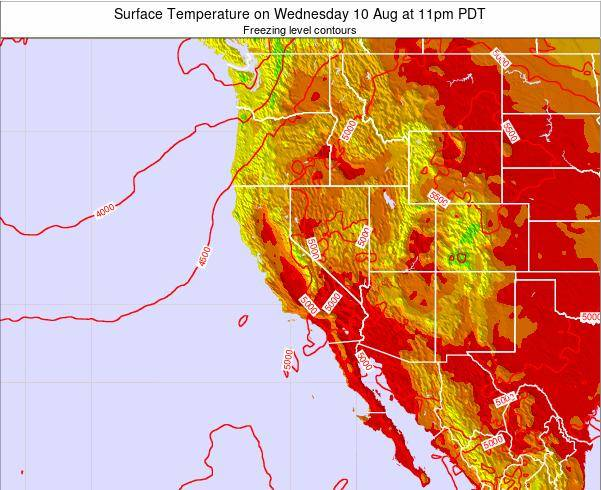 California Surface Temperature on Monday 05 Sep at 5pm PDT
