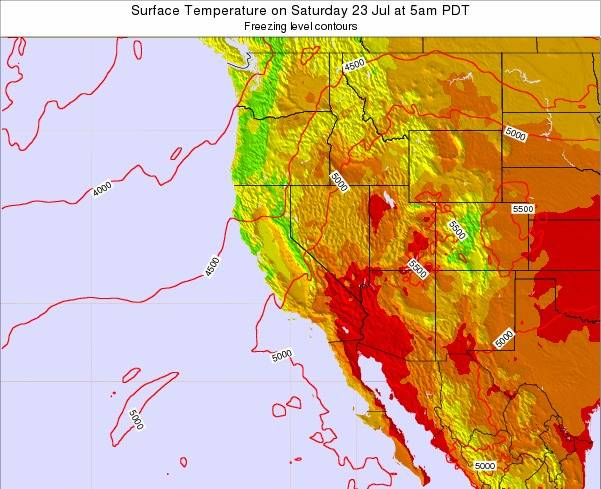 California Surface Temperature on Monday 15 Feb at 10pm PST