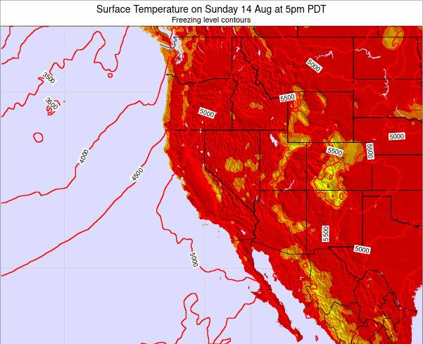 California Surface Temperature on Wednesday 30 Apr at 11pm PDT