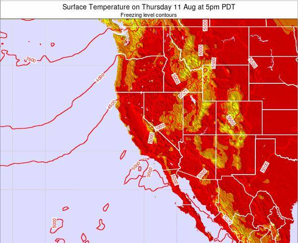 California Surface Temperature on Thursday 09 Jul at 11pm PDT