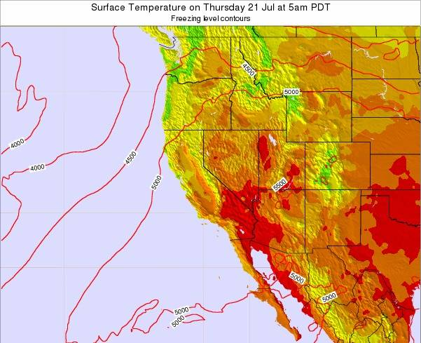 California Surface Temperature on Tuesday 26 Aug at 11pm PDT