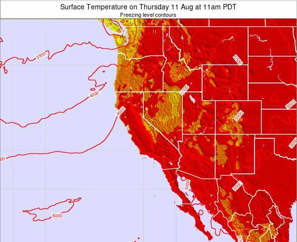 California Surface Temperature on Monday 03 Aug at 11pm PDT