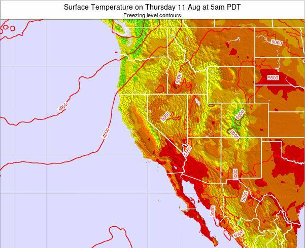 California Surface Temperature on Tuesday 29 Apr at 5pm PDT