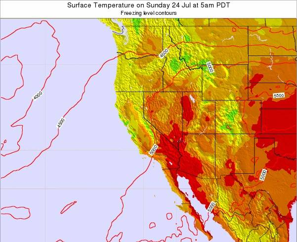California Surface Temperature on Friday 29 Sep at 11am PDT