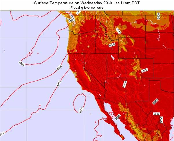 California Surface Temperature on Saturday 01 Jun at 5am PDT