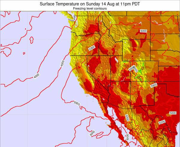 California Surface Temperature on Wednesday 31 May at 11pm PDT