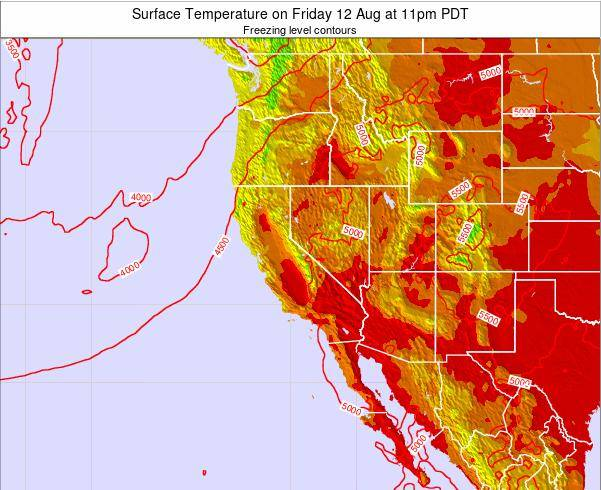 California Surface Temperature on Sunday 03 Aug at 11pm PDT