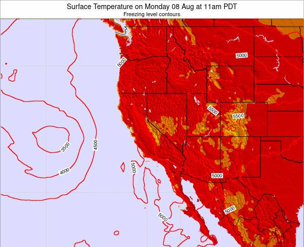California Surface Temperature on Thursday 04 Aug at 5am PDT