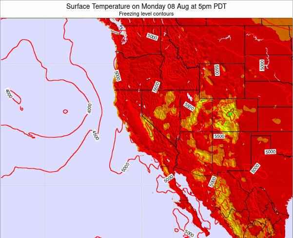 California Surface Temperature on Thursday 31 Jul at 11pm PDT