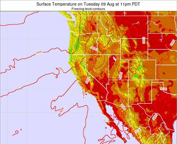 California Surface Temperature on Friday 25 Apr at 11pm PDT