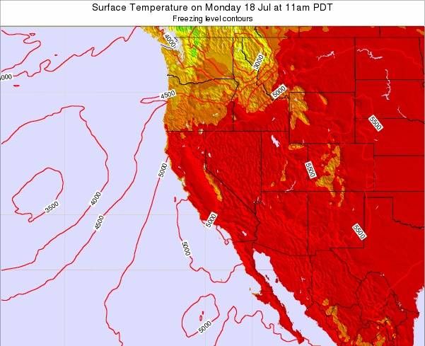 Nevada Surface Temperature On Saturday 23 Feb At 10pm Pst