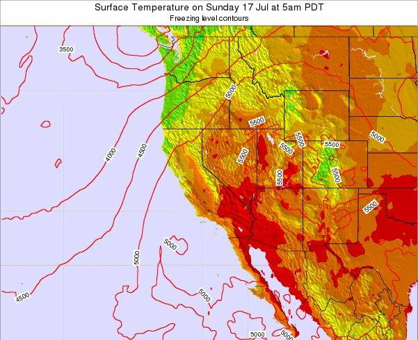 Utah Surface Temperature on Saturday 02 Aug at 11am PDT map