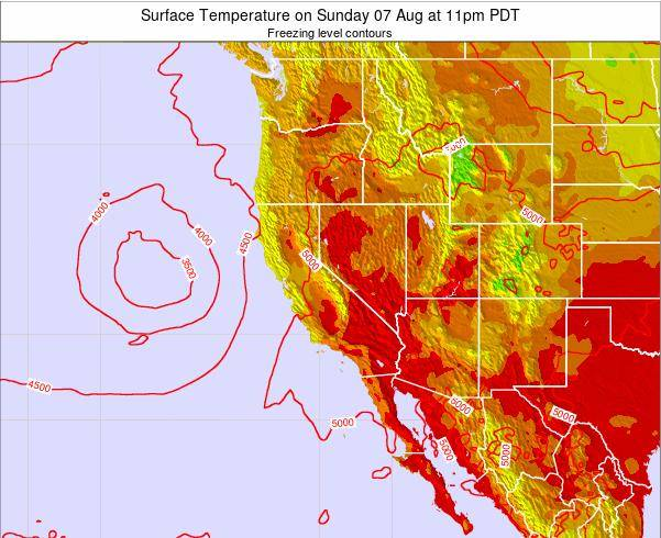 Utah Surface Temperature on Sunday 20 Apr at 11pm PDT map