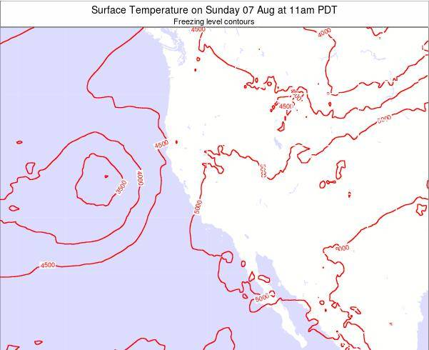 Utah Surface Temperature on Wednesday 23 Jul at 11am PDT map
