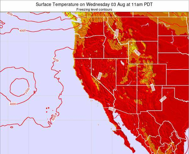 Utah Surface Temperature on Wednesday 12 Mar at 5pm PDT map