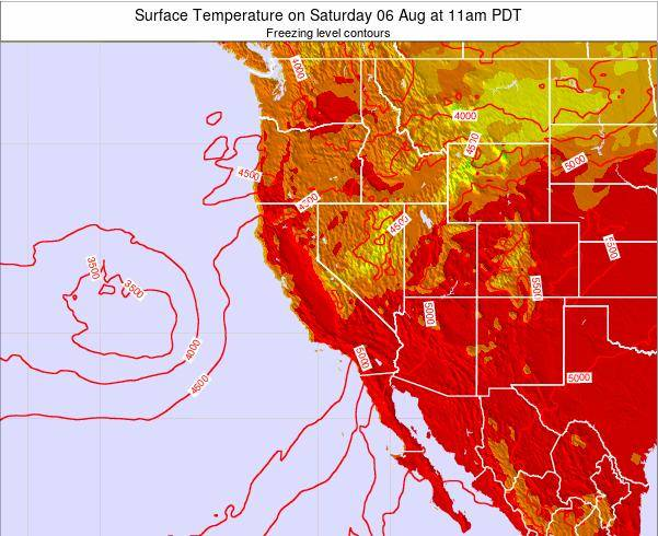 California Surface Temperature on Thursday 23 Feb at 4pm PST