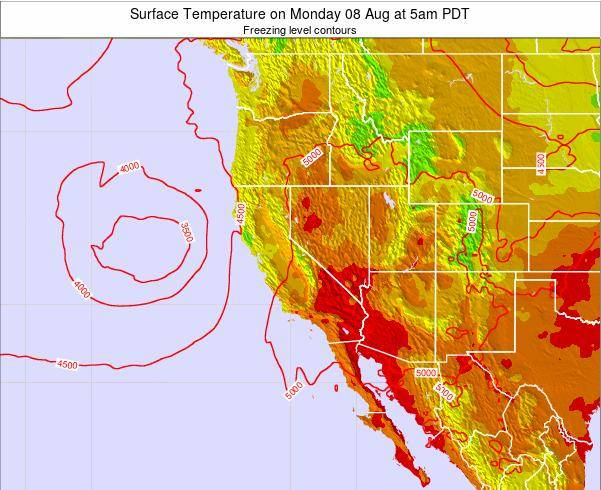 California Surface Temperature on Thursday 17 Apr at 11am PDT