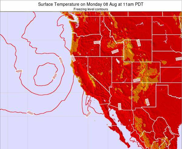 California Surface Temperature on Saturday 23 May at 5am PDT