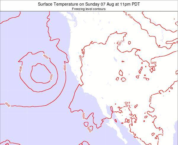 California Surface Temperature on Saturday 07 Dec at 10pm PST