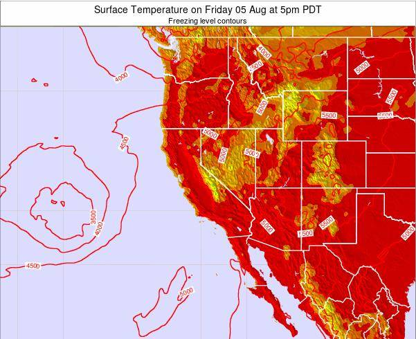California Surface Temperature on Sunday 19 May at 11pm PDT