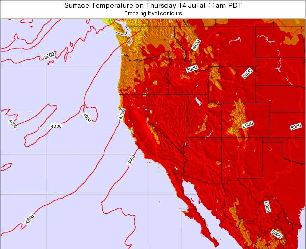 California Surface Temperature on Wednesday 26 Oct at 5am PDT