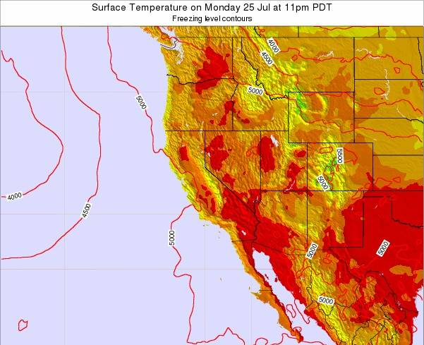 California Surface Temperature on Monday 10 Mar at 4am PST