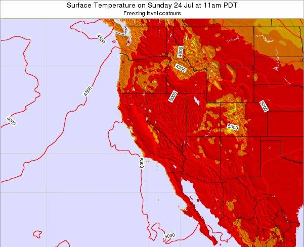 California Surface Temperature on Friday 19 Dec at 4am PST