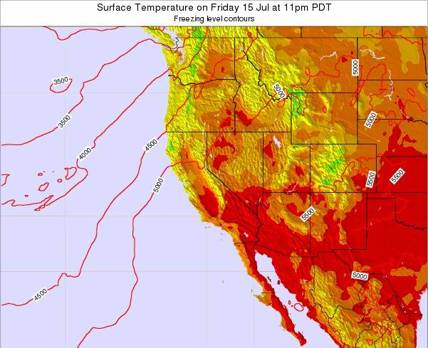 California Surface Temperature on Thursday 24 Jul at 5pm PDT