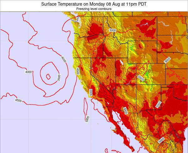California Surface Temperature on Wednesday 01 Jun at 11pm PDT