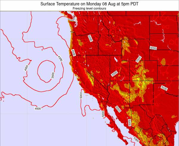 California Surface Temperature on Tuesday 29 Jul at 5pm PDT