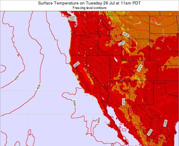 California Surface Temperature on Friday 25 Jul at 5pm PDT