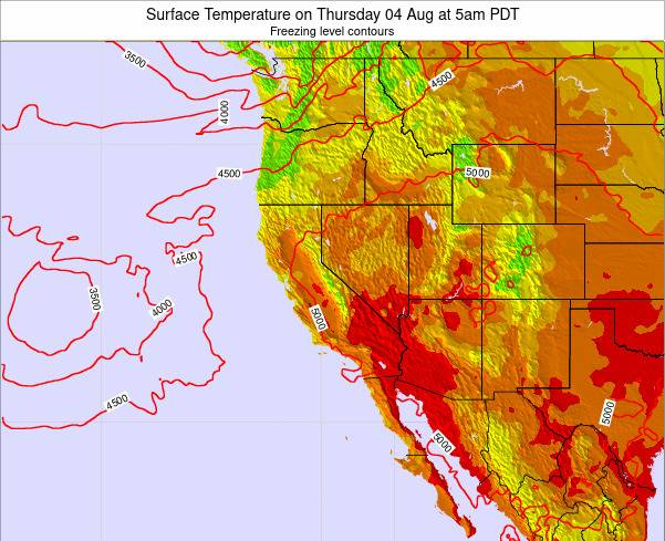 California Surface Temperature on Saturday 26 Apr at 5pm PDT