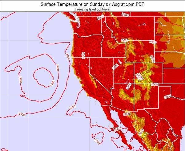 California Surface Temperature on Wednesday 30 Jul at 11pm PDT