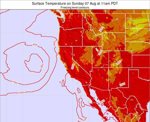 California Surface Temperature on Sunday 30 Nov at 10am PST