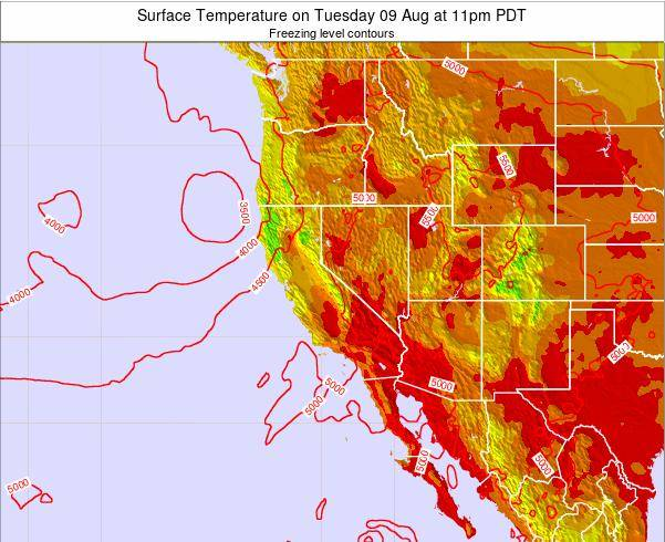 California Surface Temperature on Saturday 19 Apr at 11pm PDT