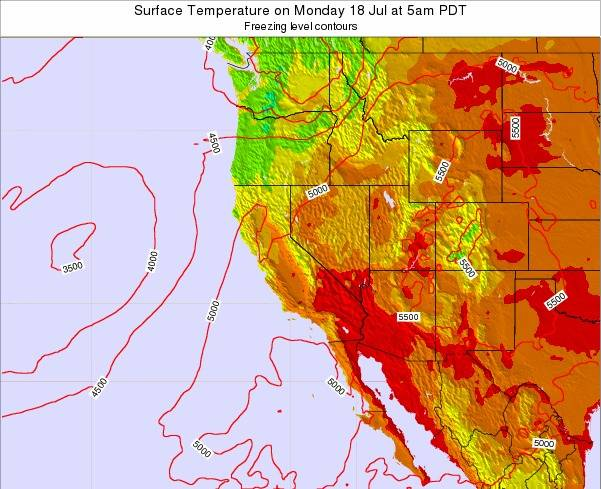 California Surface Temperature on Sunday 11 Oct at 11pm PDT