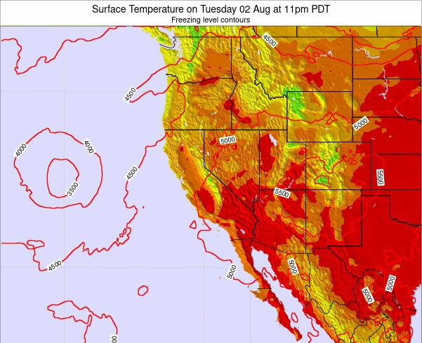 California Surface Temperature on Sunday 27 Apr at 11am PDT