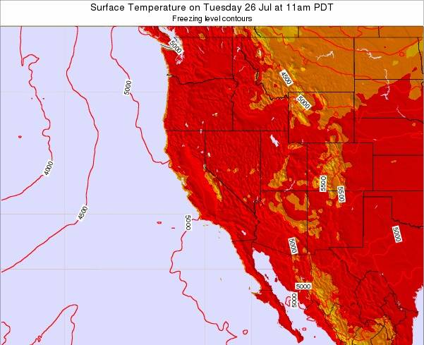 California Surface Temperature on Monday 09 Dec at 4pm PST