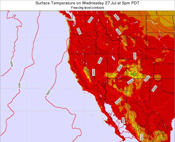 California Surface Temperature on Friday 31 Mar at 5am PDT