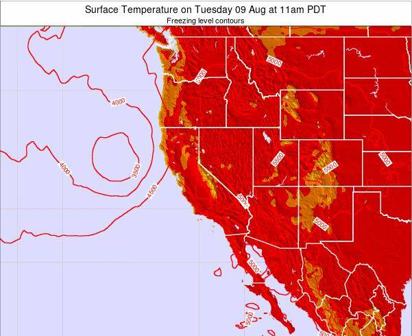 California Surface Temperature on Monday 28 Jul at 5am PDT