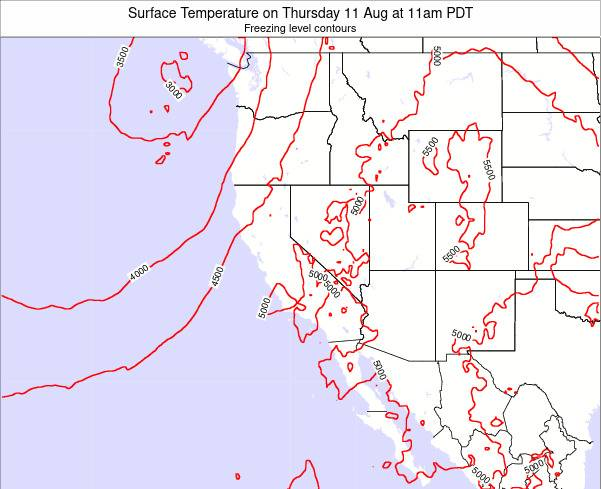 California Surface Temperature on Friday 01 Jul at 11am PDT
